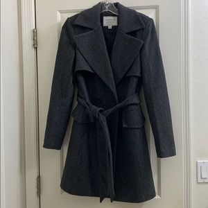 Lucky Brand gray patterned wool pea coat small